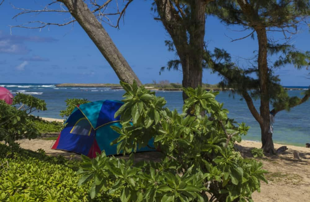 beach camping in tent