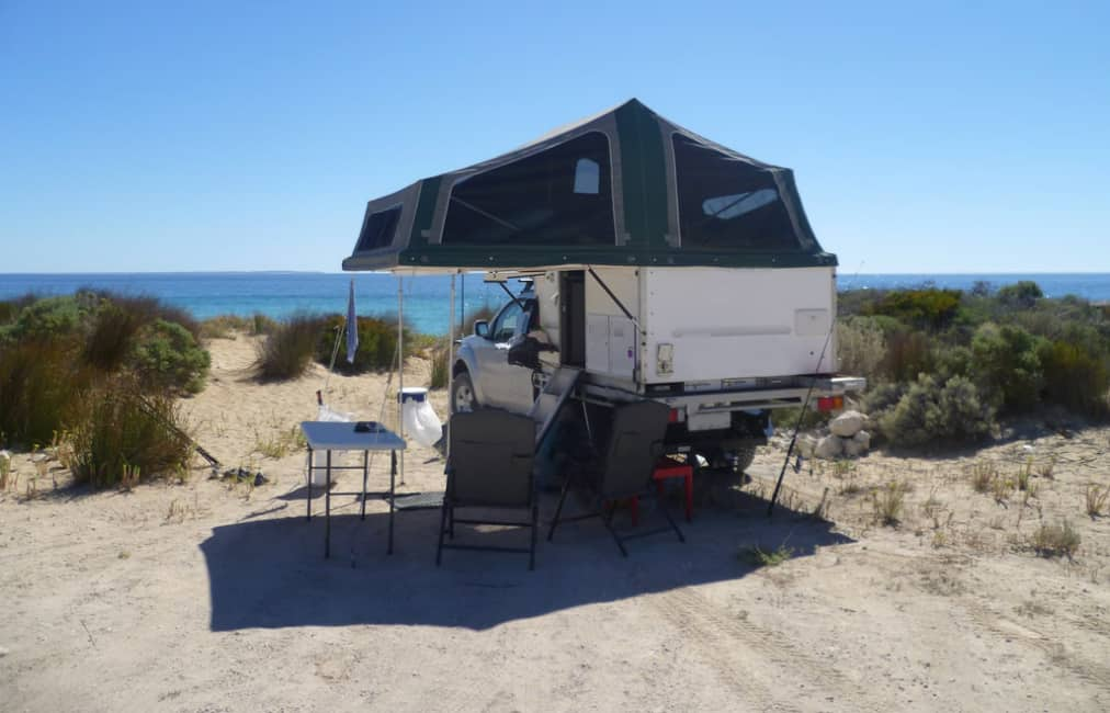 beach camping rooftop tent