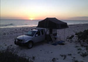 Rooftop Tent on Beach